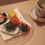 Kagaya - あえの風(ミニ懐石);先付(玉子豆腐)と前菜(おこぜの手鞠鮨など) @2014/07/05
