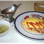 レストラン わか菜 - オムライス 800円 スープ、サラダ付