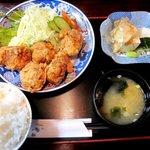 鬼そば - 鶏から揚げ定食!(2014,07/05)