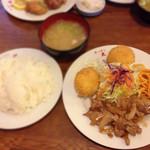 キッチン太郎 - 140709 豚のバタ焼き カニクリームコロッケ