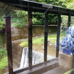 塚本みやげ店 - 窓の下は川
