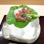 28879919 - 向付 車海老と愛媛県産ハタの造り 三浦半島産胡瓜 藻塩 自家製ポン酢