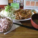 黒川食堂 - 生姜焼きと雑穀米