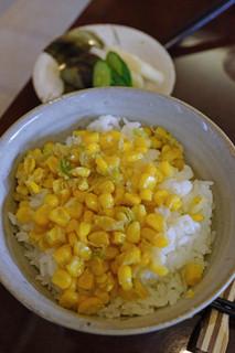 蕎麦ダイニング赤坂 - とうもろこしご飯