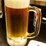 立呑み ひなどり - 生ビールは450円。サッポロ♪