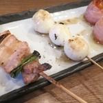 鶏飯 八事バード - 豚ネギマ、トロリン鶉の玉子、トマトのベーコン巻き♪