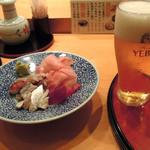 鮨政 - ランチビール380円とサービスのお通し
