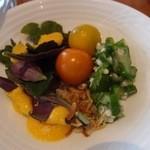 風庭 - サラダは,オクラ,プチトマト,ハンダマなど