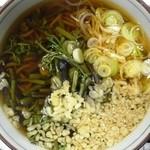 駒 - 山菜そば+揚げ玉