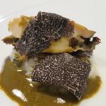 ククセモワ - 料理写真:オーストラリア産 黒トリュフのリゾット、雌貝(メガイ)アワビ、肝ソース