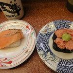 三葉寿司 - 炙り焼きサーモン&ネギトロ