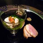 La むめい狼 - 料理写真:前菜三種盛り:鴨のロースト、白子ポン酢、煮さざえ♪