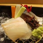 日本料理 太月 - 26年7月 松輪ゴマサバ、千葉富津フッコ 人参、独活、胡瓜の短冊
