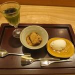 日本料理 太月 - 26年7月 抹茶クリームブリュレ、ワラビ餅、蜂蜜アイス