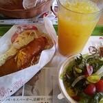 モスバーガー - モスのナンスパイスチキンカレー サラダセット710円。
