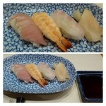山乃薫 - 寿司(握り3貫)・・海老・ヨコワ・鯛。このお値段ですから普通だそう。