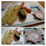 山乃薫 - 天ぷら・・海老(頭も揚げてあるのは嬉しい)・丸十・茄子・白ネギの上の部分。  宮古島の塩で頂きます。天ぷらは衣が薄くカラッと揚がっていて好みです。