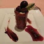 ミチノ・ル・トゥールビヨン - フォレノワール(チョコレートとチェリーのデザート)