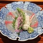 日本料理くりた - お造り,鱧の炙りとカンパチ