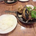 29048996 - 【夏限定】茄子とピーマンの和風ハンブルグステーキ+ライス