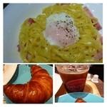 シアトルズ ベスト コーヒー - パスタは平麺(フェットチーネ風)。 温泉卵がのせられていますがカルボナーラにしては生クリームが少ないですし、お味付けも薄めです。