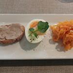 イケダヤ - 料理写真:前菜(リエット ウフ自家製マヨネーズ 人参のマリネ)