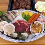 伊豆白浜バーベキューガーデン - 料理写真:サーロインステーキ120gや魚介類などボリューム満点の食材!(写真は2人前です。内容は変更になる場合があります。)