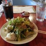Rizottokafetoukyoukichi - サラダの本気とアイスコーヒーbyアライグマのニコちゃん好き