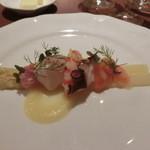 シェ・モリタ - ホワイトアスパラガスと海の幸の冷前菜