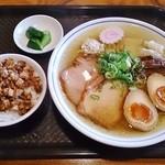 きく屋 - ランチセット(特製ラーメン850円+肉ごはん150円)