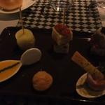 29099406 - 前菜(ケークサレ、チーズシュー、自家製コッパ、パテドカンパーニュ)