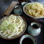 小川 ゆでめん店 - 料理写真:もりうどんと大天ひもかわ
