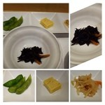 いずみ田 - 最初に「前菜」・・枝豆・玉・切り干し大根の煮付。煮ヒジキが出されました。  お鮨を出されるまでのツマミにいいですね。