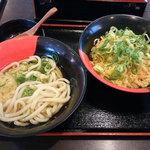 伊予製麺 - かけうそん(並)+丼ごはん大、合わせて税込み410円