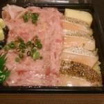 三松寿司 - ネギトロと炙りトロサーモン丼(950円)
