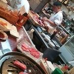 Arakawa - 厨房。まな板の上にどんどんお肉が増えていきます。