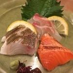 HOZON - 鯛の塩麹昆布締め・サーモンの塩麹マリネ・イサキの塩麹炙り