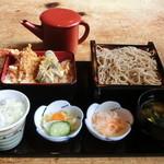 上の家 鶴岡 - そば付天丼 ¥1,300