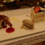 イル・テアトロ - オリジナルティラミス。コーヒーのアイスクリーム添え+ショートケーキ