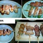 2916114 - シロ(ねぎ間)、ハツ、オクラ豚、カシラ(ほっぺ)×2、豚バラ、串つくね、てっぽう(直腸)ねぎ間