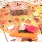 29175449 - ランチコース+デザート 2000円 の田舎風パテと色々野菜のピクルス