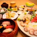 北海寿し - ご宴会コースには豪華お刺身盛りも・・・