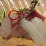 季旬 鈴なり - お造り  藻塩 白イカ、本鮪、いさき、しまあじ、ふっこ(すずき)