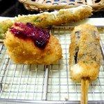 風来屋 - アスパラ、カマンベールチーズ、山芋海苔巻き