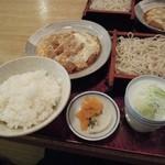 芝その更科 - ランチのそば定食(冷たいそば&カツ煮&ライス大盛)