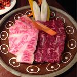 闇市肉酒場 - 2014.7 特上カルビ ¥1500(外税)と特選ハラミ ¥1600(外税)