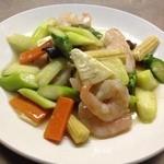 王朝 - 料理写真:エビとアスパラの塩味炒め
