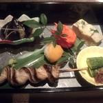 神戸牛しゃぶしゃぶ 嵯峨野 - 前菜 くりから、茄子等