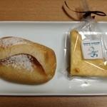29239425 - リンデンバームさんのソーセージ入りパン、チーズケーキ1/4サイズ