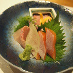 玉之湯 - お造り:川魚3点盛り 妻一式(信州サーモン・大岩魚・鯉洗い)